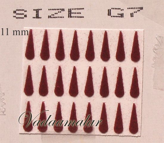1 Pack of 15 sheets Indian Maroon / Black / Red Tear Bindis Forehead Body Dots -11 mm