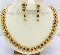 Ethnic Indian Short  necklace with earring set red stone - Micro Gold plated