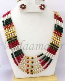 Pearl Multi colour Necklace Earrings Indian Jewelery Set for Saree Salwar