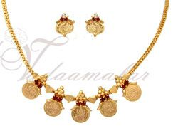 Micro Gold Plated Kasu Necklace With Maroon Stones Traditional Indian Necklace with Earrings set