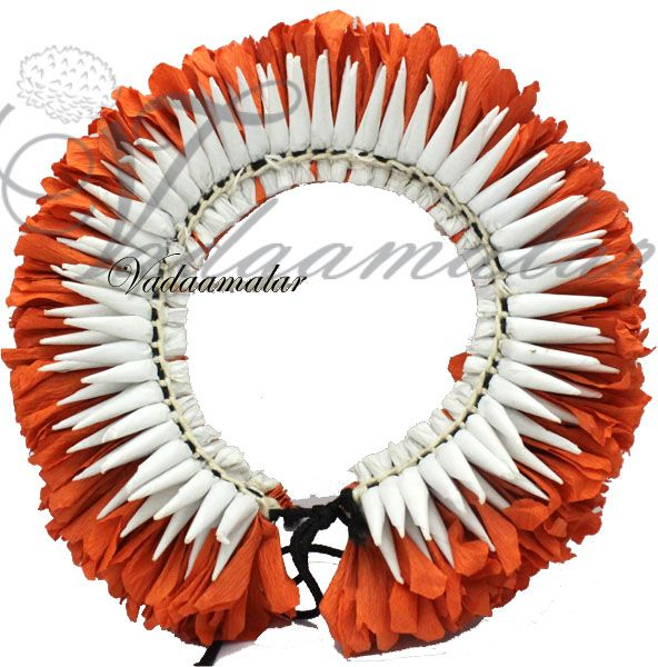 White and Orange paper and cloth flowers Kuchipudi Odissi dance flowers