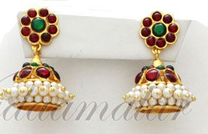 Kemp and pearl Jhumkis Jhumka Traditional South India Earrings Red Buy now