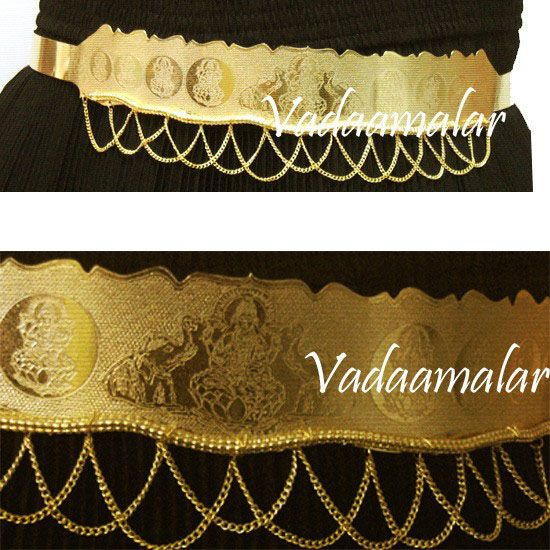 Goddess Lakshmi Micro Gold Plated Indian Oddiyanam Waist Belt Hip Chain