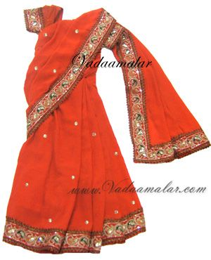 Orange ready to wear color pre-pleated Indian saree Costume