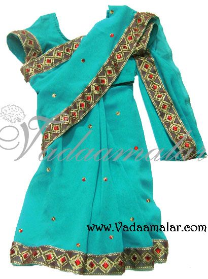 Ready to wear Childrens India Sarees Costume Turquoise Kids Pre-Stitched Sare