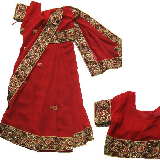 Embroidery border Red Kids ready to wear Saree