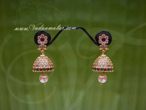American Diamond And Ruby Emerald Stone Indian Design Jhumki Buy Online