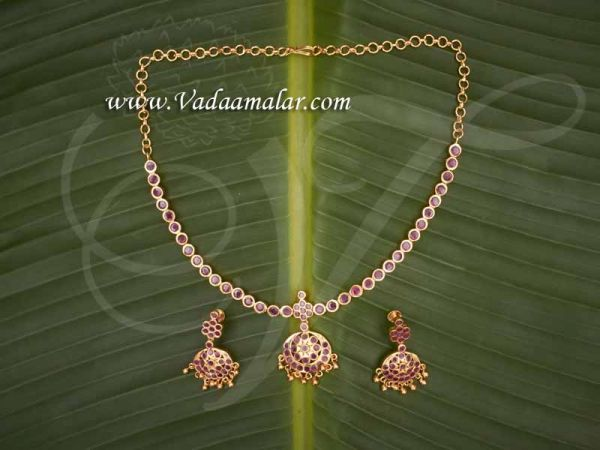 Attikai with Earring Ruby Stones Indian Design Choker Necklace Buy Now