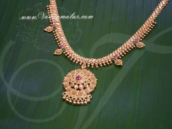 Gold Plated Necklace for Women Ruby Emerald Stone Short Necklace buy now