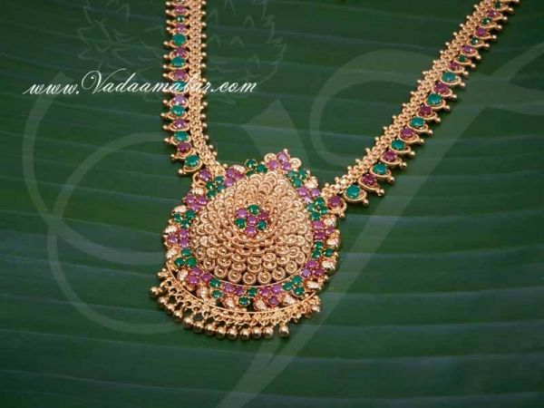 Gold Plated Necklace for Women Ruby Emerald Stone Pendant With Long Necklace and Short Necklace buy now
