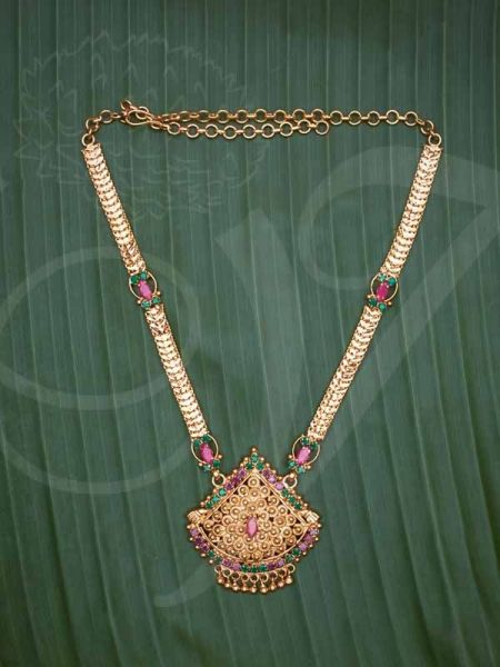Gold Plated Necklace for Women Ruby Emerald Stone Pendant With Short Chain buy now