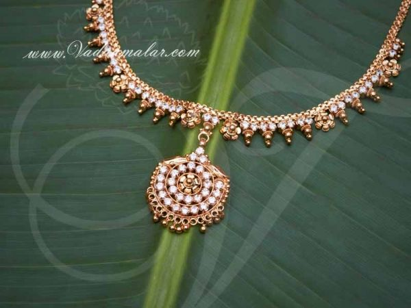 Gold Plated Necklace for Women American Diamond Stone Pendant With Short Chain buy now