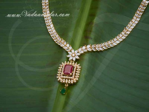 American Dimond,Ruby and Emerald Stones Necklace for Saree Salwar Buy