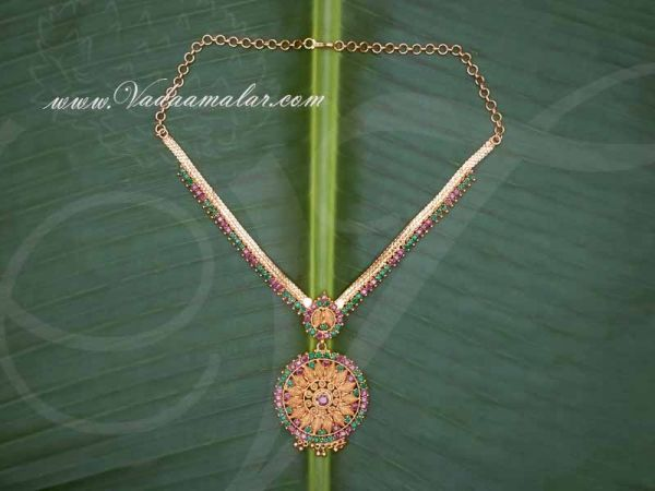 Gold Plated Necklace for Women Ruby Emerald Stone Pendant Buy Now