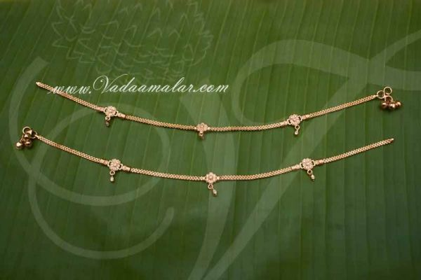 Anklets Payal Micro Gold Plated With A.D Stones Leg Ornament Indian anklet