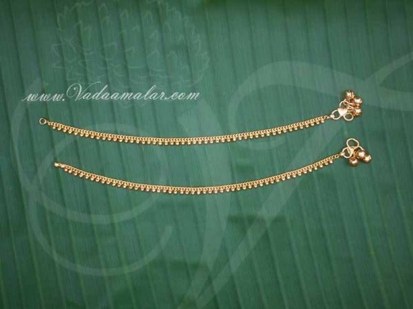 Kids Size Micro Gold plated Anklets Kolusu Payal Leg Ornament Indian anklet Buy Now