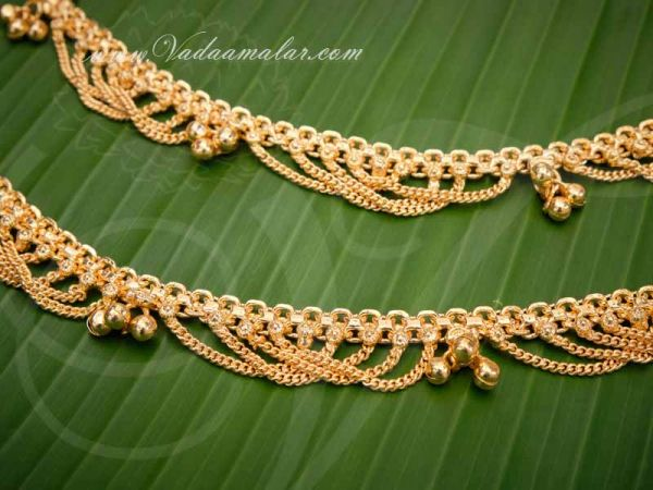 Anklets Micro Gold Plated Kolusu Paayal Leg Ornament Indian Buy Now