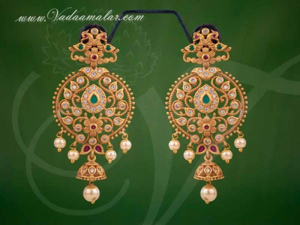 Antique Peacock Design Pearl Ear Drops Earrings Buy Now