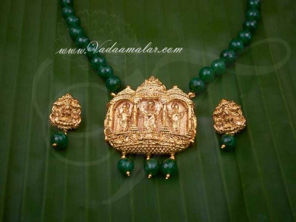 Antique Design Pendent Green Beads Necklace with Earring Set for Saree Salwar Shop Online
