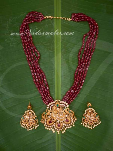Antique Finish Radha Krishna Pendant with Beads necklace matching earring sets buy now