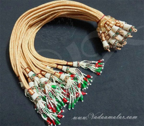 Buy Online Necklace Back Gold Rope Thread with Beads 6 pieces