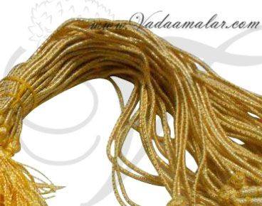 Buy Online Necklace Back Chain Gold Rope Thread with Beads 6 pieces