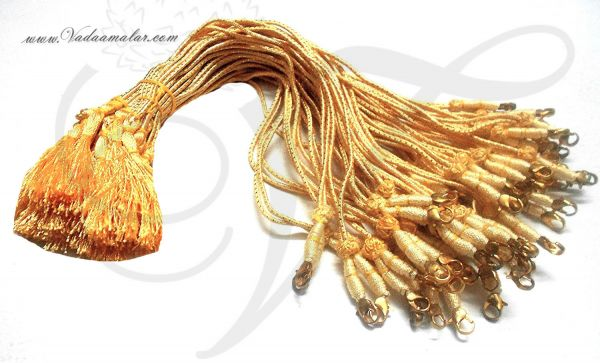 Buy Online Gold back rope With Fish Hokes for Necklace Gold Thread - 6 pieces