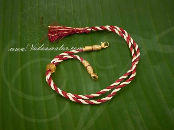 Buy Online Maroon with Gold back rope With Fish Hokes for Necklace Silk Thread - 6 pieces