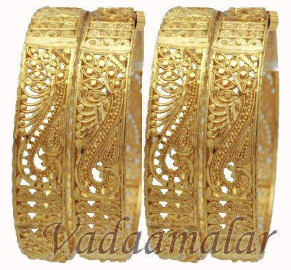 4 pieces Micro Gold plated Valaial Saree Bangles Bangle Bracelets with intricate designs in screw type