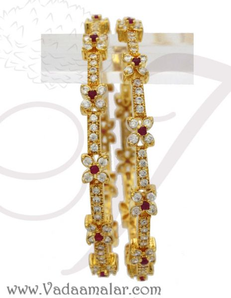 AD Bangles Micro gold plated with white and ruby stones buy now