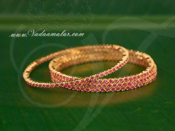 Micro gold plated elegant bracelets with ruby stones bangles bracelet - 4 pieces