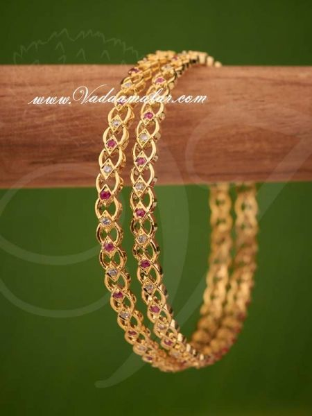 Gold Plated AD Ruby Stones Bangles Bracelet - 2 pieces