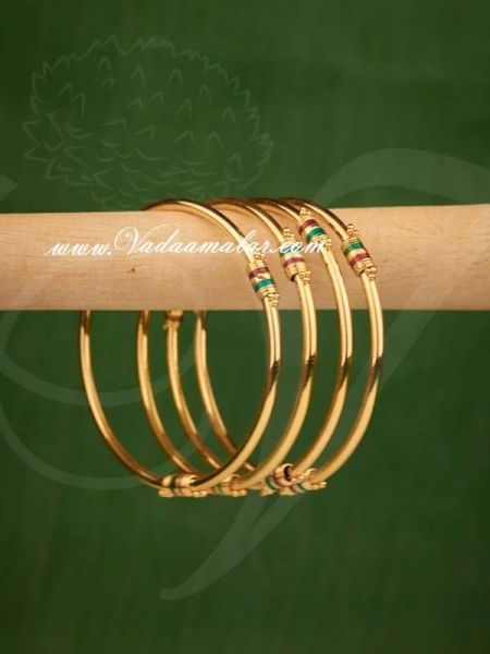 Children size Bangles Gold Plated Enamel Design Kids Size Bangle Bracelets Buy now