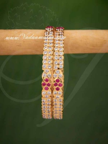 Traditional South Indian Design Gold plated ruby stones bangles bracelets - 2 pieces