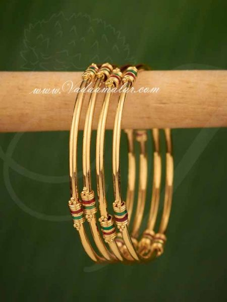 Gold Plated Enamel Design Adult Size Bangle Bracelets