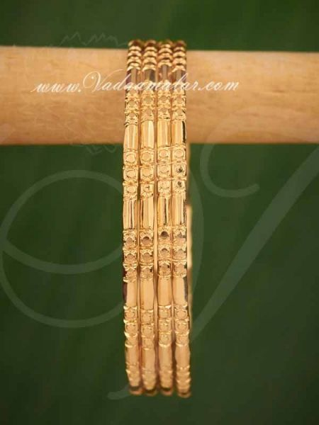 Gold Plated Bangles Bracelet Buy Online - 4 pieces