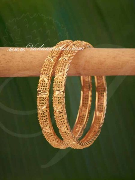 Micro Gold Plated Small Size Bangles Bracelets Buy online from India - 2 pieces