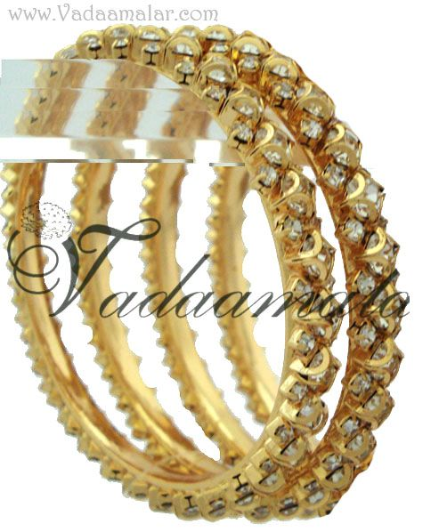 New arrival full white stones gold plated bracelet Indian bangles valaiyal 2 pieces