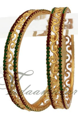 Dazzling gold plated maroon & green stones bollywood bangles bracelets