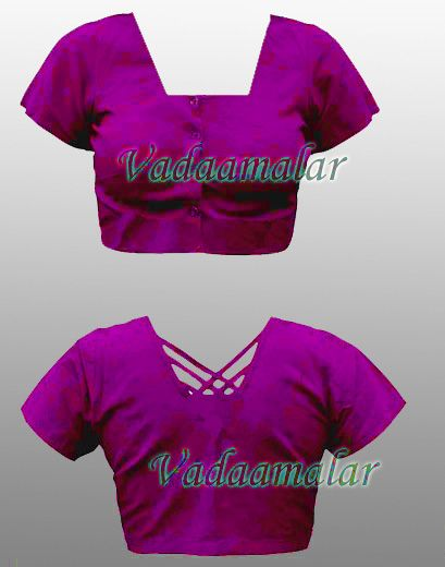 Bright Pink Cotton / Silk Cotton Saree Blouse Readymade Ready to wear Blouses for Sarees Choli