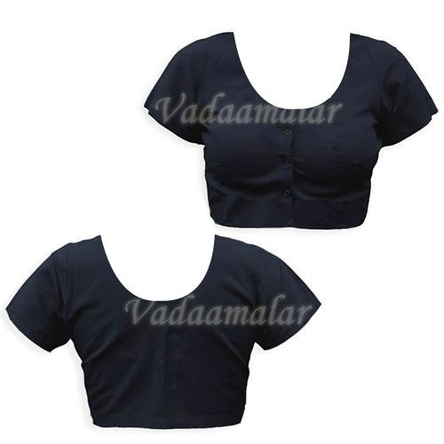 Black Pure Cotton / Silk Cotton Simple Saree Blouse Readymade Ready to wear Blouses for Sarees Choli