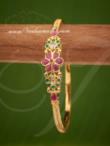 Gold Plated Ruby Emerald Stones Bracelet Jewellery for Gifts