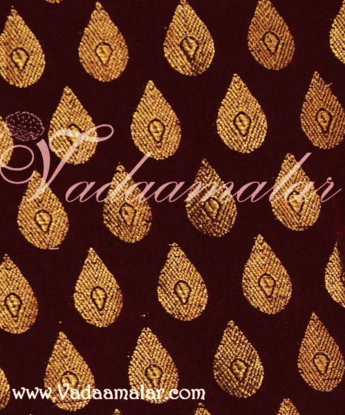 Black and Gold Brocade Fabric Silk Cotton - 1 meter