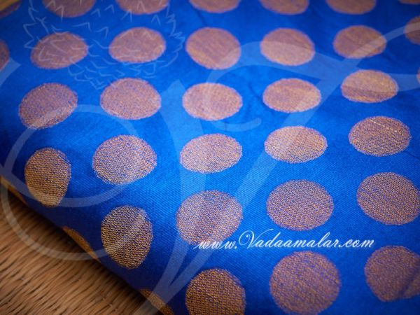 Blue and Gold Brocade Fabric Silk Cotton - 1 meter