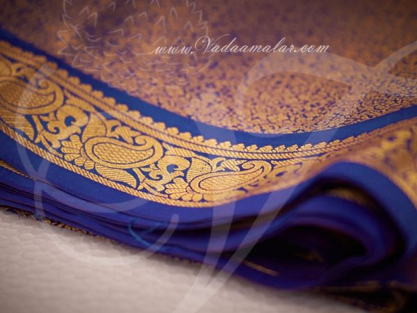 Blue and Gold Jacquard Poly Cotton Fabric - 1 meter