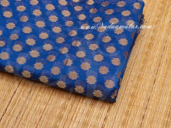 Beautiful Blue With Gold Colour Banaras Brocade Material Buy Now