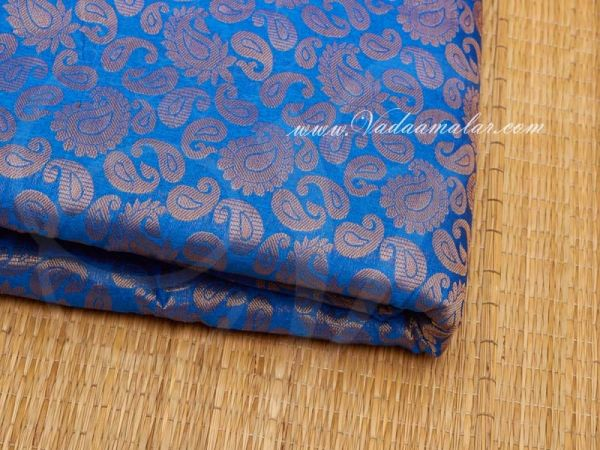 Blue With Gold  Design Brocade Fabric  Buy Online Now