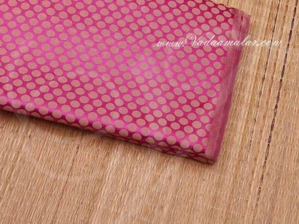 Bright Pink With Gold Colour Banaras Brocade Fabric Buy
