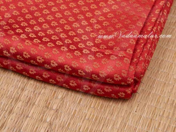 Brocade Material Red Fabric with Gold  Design Buy Online Now