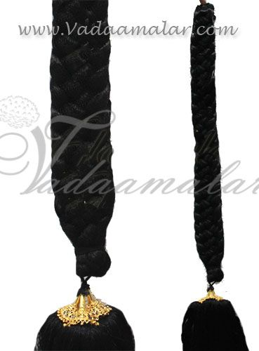 Synthetic Jet Black False Braided long hair additional hair for Indian braid 32 inches